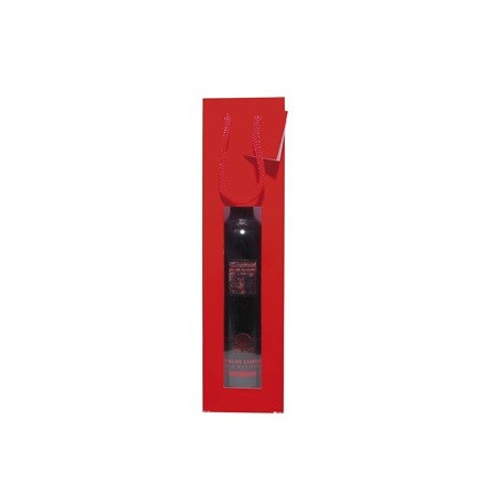 BOLSA 1 BOTELLA COLOR KRAFT ROJO CON VENTANA 175gr