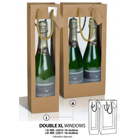 BOLSA PARA 1 y 2 BOTELLAS KRAFT CON DOBLE VENTANA